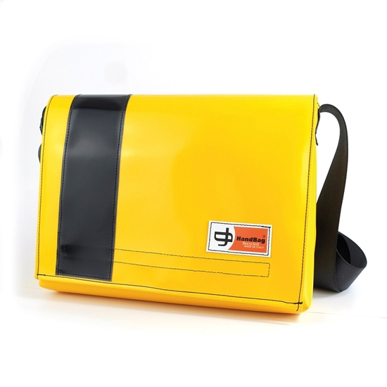 Guareschi grande gialla banda nera messenger handbag