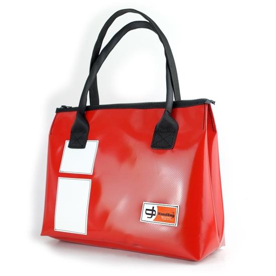 Vargas rossa rettangoli bianchi, borsa da donna