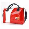 Hemingway 24 ore HandBag rossa diagonale bianca personalizzabile, borsa igienizzabile, borsa in materiale riciclato, Cervia, Made in Italy