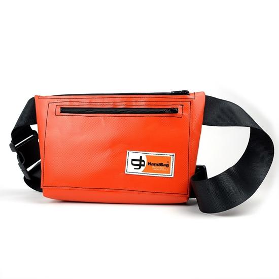 London marsupio arancione lavabile HandBag, Made in Italy, plastica riciclata