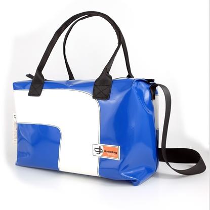 Blixen Maxi Blu chiaro curva bianca, HandBag, borse da mare, Borsa in plastica riciclata, Made in Italy