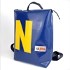 Zaino Conrad blu scuro + N gialla, HandBag, zaino pwersonalizzato, plastica riciclata