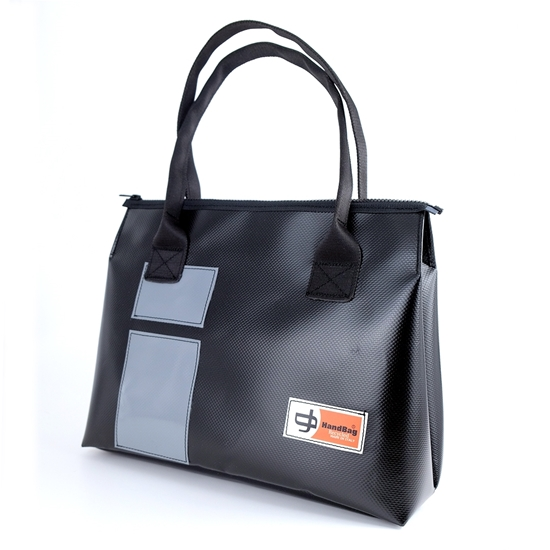 Vargas nera rettangoli antracite, borsa da donne , HandBag pvc di recupero, la più comoda borsa in plastica
